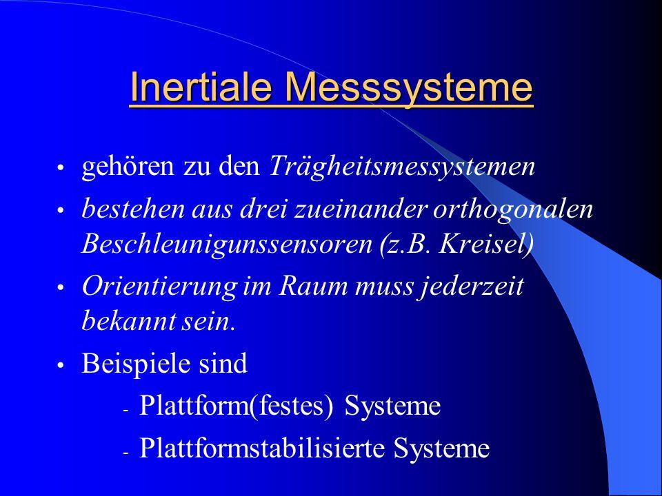Inertiale Messsysteme gehören zu den Trägheitsmessystemen bestehen aus drei zueinander orthogonalen Beschleunigunssensoren (z.B. Kreisel) Orientierung