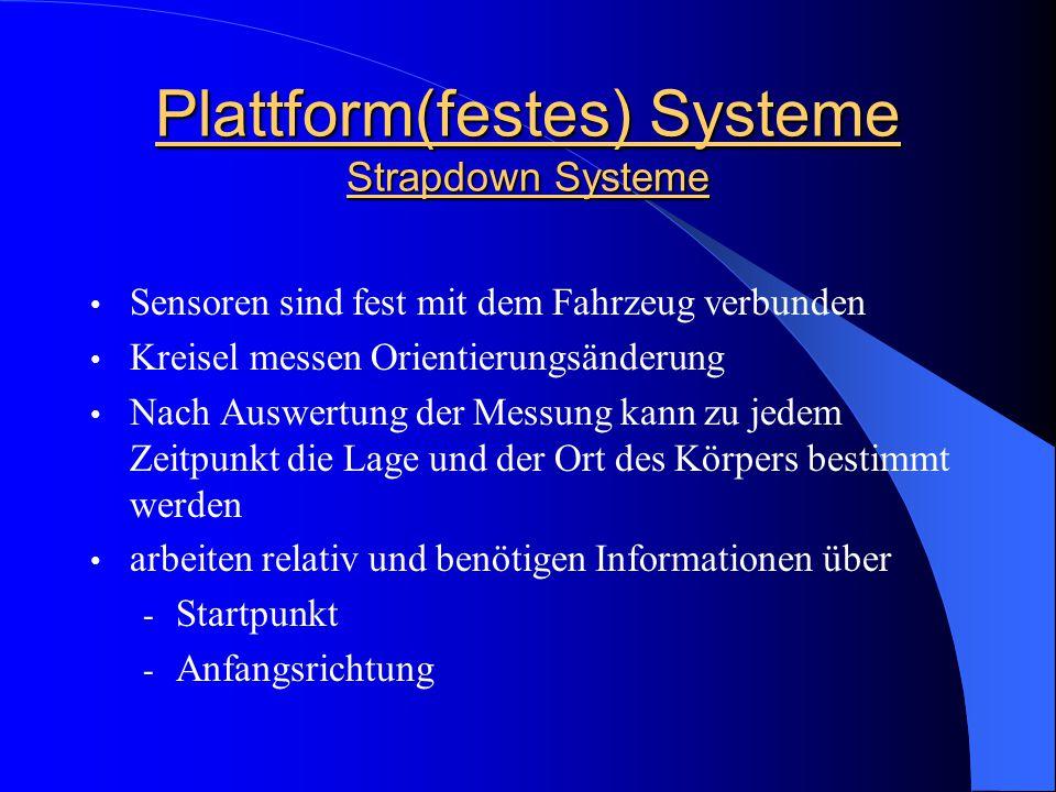 Plattform(festes) Systeme Strapdown Systeme Sensoren sind fest mit dem Fahrzeug verbunden Kreisel messen Orientierungsänderung Nach Auswertung der Mes