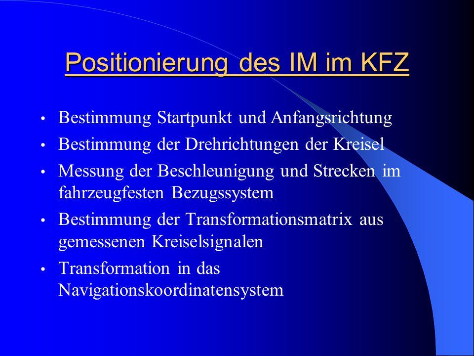 Positionierung des IM im KFZ Bestimmung Startpunkt und Anfangsrichtung Bestimmung der Drehrichtungen der Kreisel Messung der Beschleunigung und Streck