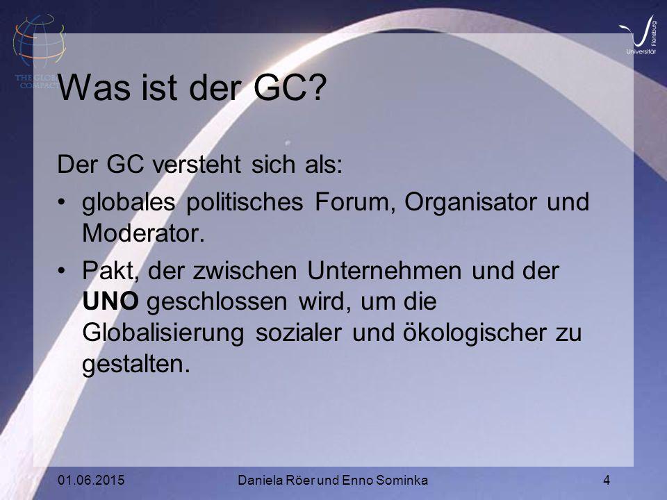 01.06.2015Daniela Röer und Enno Sominka4 Was ist der GC.