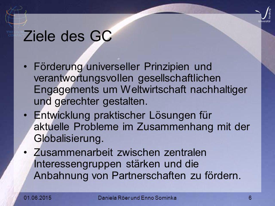 01.06.2015Daniela Röer und Enno Sominka6 Ziele des GC Förderung universeller Prinzipien und verantwortungsvollen gesellschaftlichen Engagements um Weltwirtschaft nachhaltiger und gerechter gestalten.