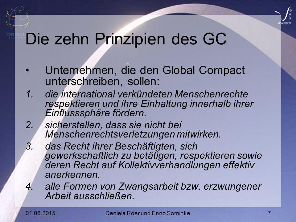 01.06.2015Daniela Röer und Enno Sominka7 Die zehn Prinzipien des GC Unternehmen, die den Global Compact unterschreiben, sollen: 1.die international verkündeten Menschenrechte respektieren und ihre Einhaltung innerhalb ihrer Einflusssphäre fördern.