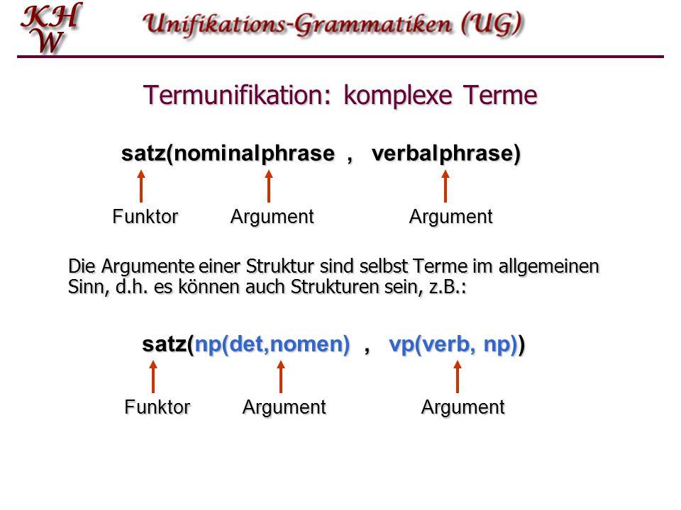 Termunifikation: Term  Es können einfache und komplexe (zusammengesetzte) Terme unterschieden werden.