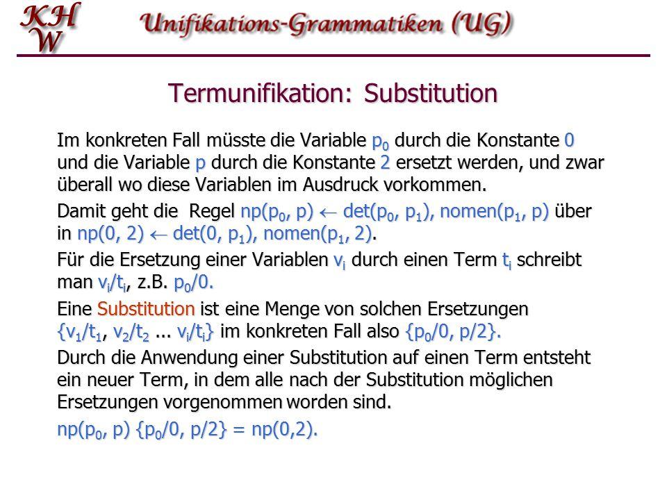 Termunifikation: Regeln Regeln wie np(p 0, p)  det(p 0, p 1 ), nomen(p 1, p) weisen eine besondere Struktur auf, eine Operand – Operator – Operand-Struktur.