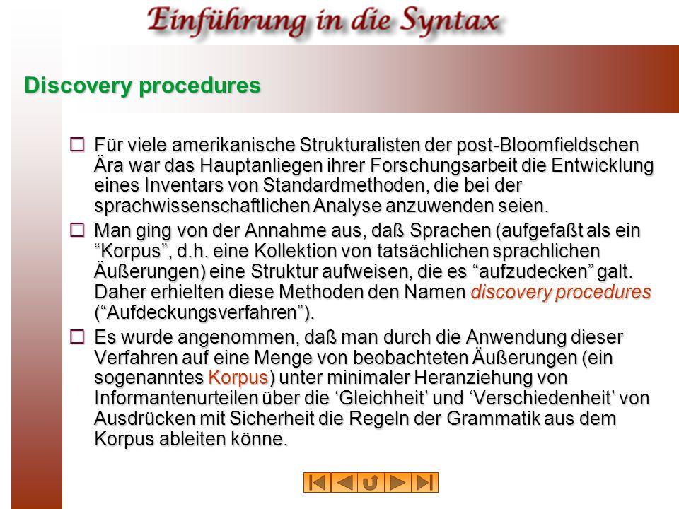 Discovery Procedures Korpus Grammatik