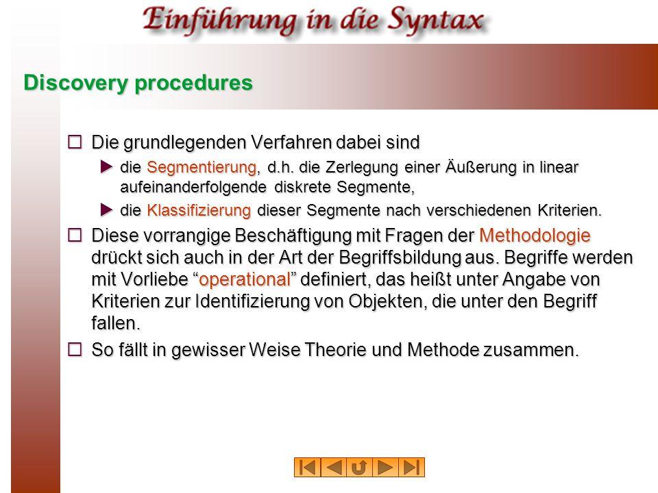 Methoden zur Hypothesenbildung  Die im folgenden vorgestellten Verfahren haben nicht diesen theoretischen Status; sie sind lediglich Hilfsverfahren zur Bildung begründeter Hypothesen über die syntaktische Struktur von sprachlichen Ausdrücken.