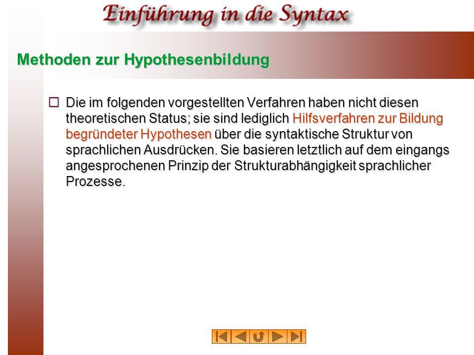 """Die """"Proben von Glinz  Eine Reihe nützlicher Verfahren zur operationalen Satzanalyse hat in den sechziger Jahren der Germanist H."""