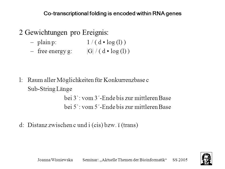 "Joanna WisniewskaSeminar: ""Aktuelle Themen der Bioinformatik""SS 2005 Co-transcriptional folding is encoded within RNA genes 2 Gewichtungen pro Ereigni"