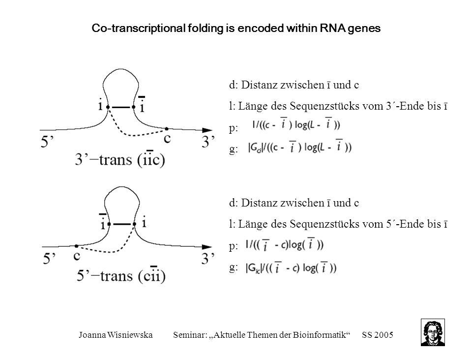 """Joanna WisniewskaSeminar: """"Aktuelle Themen der Bioinformatik""""SS 2005 Co-transcriptional folding is encoded within RNA genes d: Distanz zwischen ī und"""