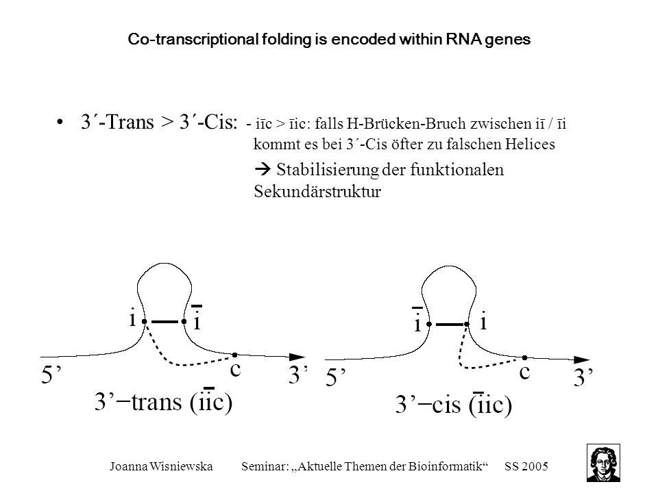 """Joanna WisniewskaSeminar: """"Aktuelle Themen der Bioinformatik SS 2005 Co-transcriptional folding is encoded within RNA genes 3´-Trans > 3´-Cis: - iīc > īic: falls H-Brücken-Bruch zwischen iī / īi kommt es bei 3´-Cis öfter zu falschen Helices  Stabilisierung der funktionalen Sekundärstruktur"""