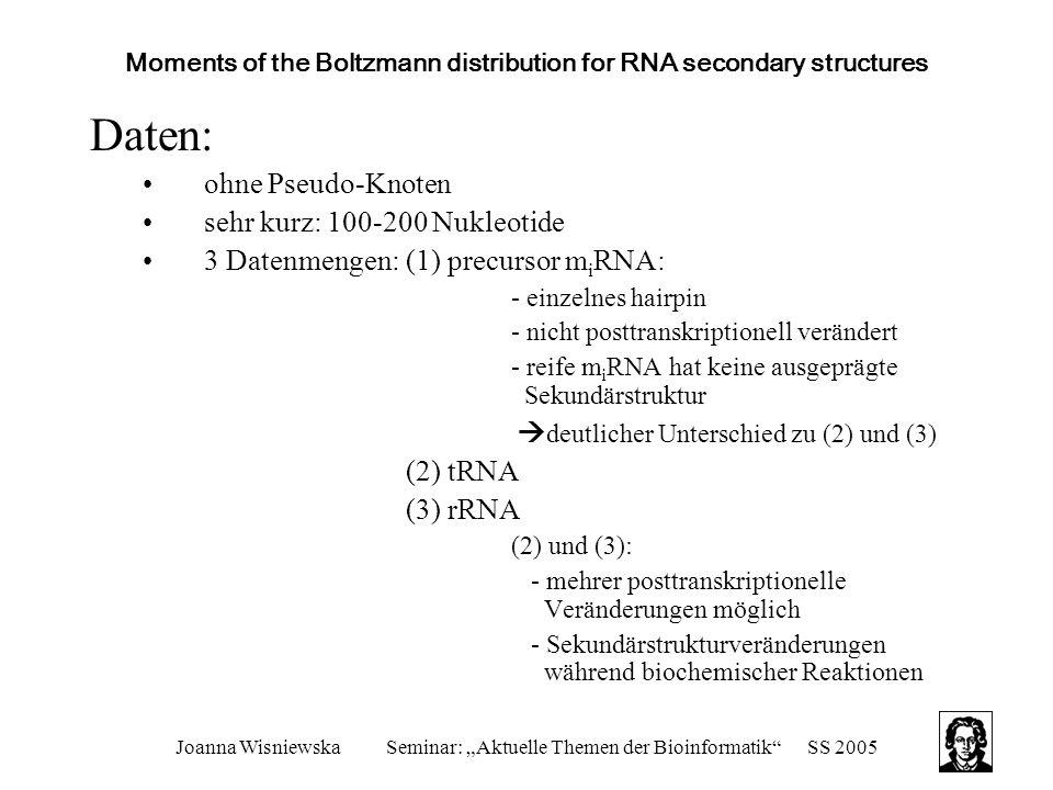"""Joanna WisniewskaSeminar: """"Aktuelle Themen der Bioinformatik SS 2005 Moments of the Boltzmann distribution for RNA secondary structures Daten: ohne Pseudo-Knoten sehr kurz: 100-200 Nukleotide 3 Datenmengen: (1) precursor m i RNA: - einzelnes hairpin - nicht posttranskriptionell verändert - reife m i RNA hat keine ausgeprägte Sekundärstruktur  deutlicher Unterschied zu (2) und (3) (2) tRNA (3) rRNA (2) und (3): - mehrer posttranskriptionelle Veränderungen möglich - Sekundärstrukturveränderungen während biochemischer Reaktionen"""