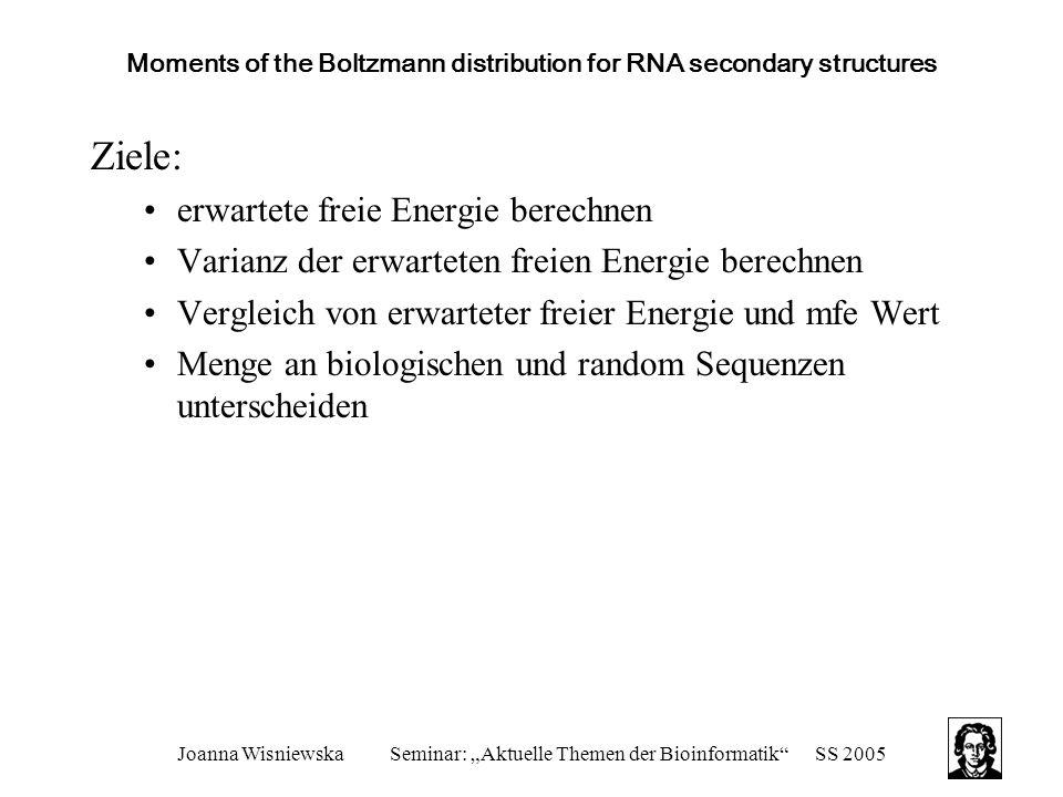 """Joanna WisniewskaSeminar: """"Aktuelle Themen der Bioinformatik SS 2005 Moments of the Boltzmann distribution for RNA secondary structures Ziele: erwartete freie Energie berechnen Varianz der erwarteten freien Energie berechnen Vergleich von erwarteter freier Energie und mfe Wert Menge an biologischen und random Sequenzen unterscheiden"""