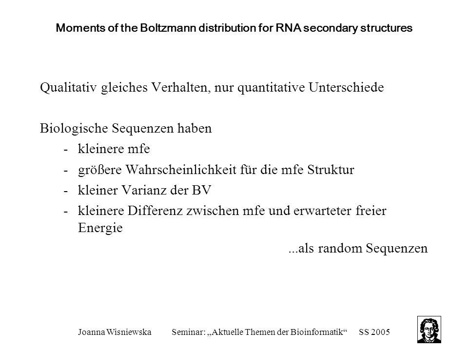 "Joanna WisniewskaSeminar: ""Aktuelle Themen der Bioinformatik""SS 2005 Moments of the Boltzmann distribution for RNA secondary structures Qualitativ gle"
