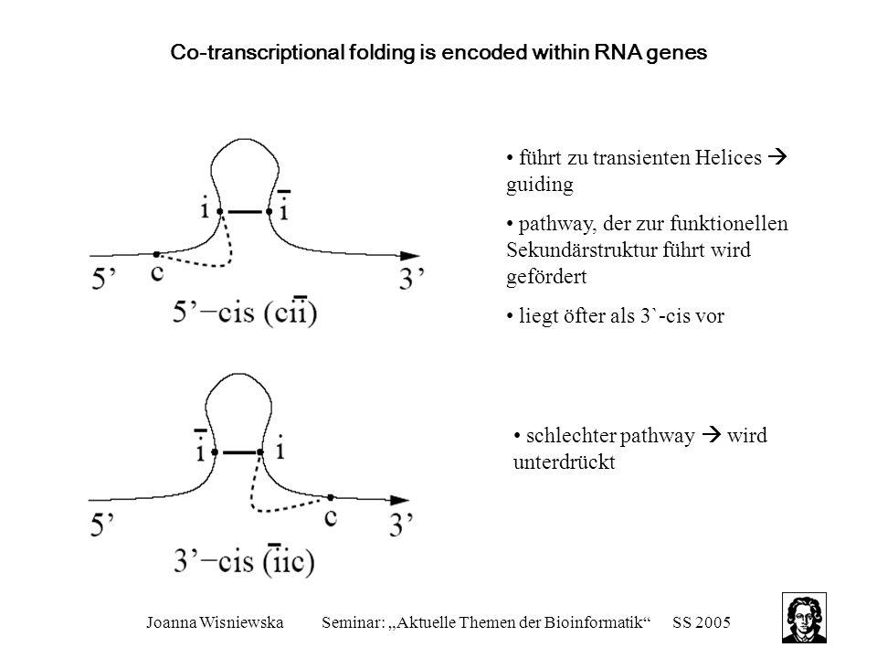 """Joanna WisniewskaSeminar: """"Aktuelle Themen der Bioinformatik SS 2005 Co-transcriptional folding is encoded within RNA genes führt zu transienten Helices  guiding pathway, der zur funktionellen Sekundärstruktur führt wird gefördert liegt öfter als 3`-cis vor schlechter pathway  wird unterdrückt"""