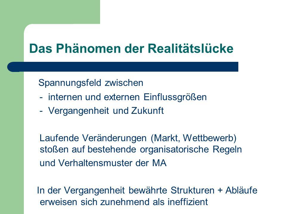 Das Phänomen der Realitätslücke Spannungsfeld zwischen - internen und externen Einflussgrößen - Vergangenheit und Zukunft Laufende Veränderungen (Mark