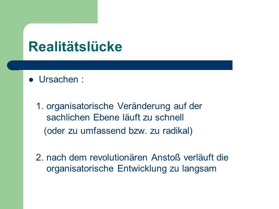 Realitätslücke Ursachen : 1. organisatorische Veränderung auf der sachlichen Ebene läuft zu schnell (oder zu umfassend bzw. zu radikal) 2. nach dem re