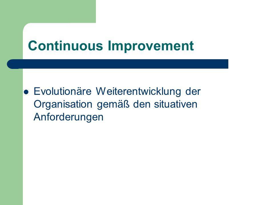 Continuous Improvement Evolutionäre Weiterentwicklung der Organisation gemäß den situativen Anforderungen