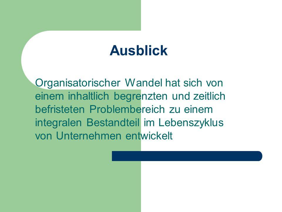 Ausblick Organisatorischer Wandel hat sich von einem inhaltlich begrenzten und zeitlich befristeten Problembereich zu einem integralen Bestandteil im