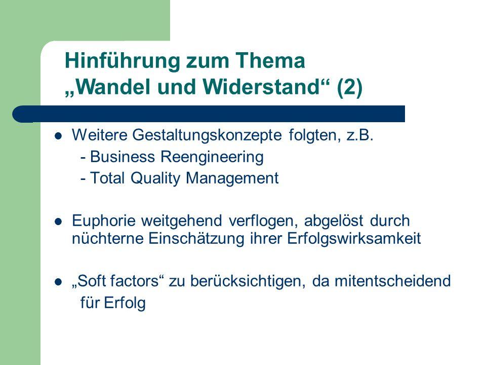 Weitere Gestaltungskonzepte folgten, z.B. - Business Reengineering - Total Quality Management Euphorie weitgehend verflogen, abgelöst durch nüchterne