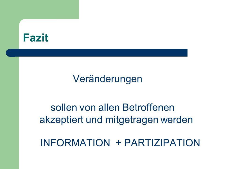 Fazit Veränderungen sollen von allen Betroffenen akzeptiert und mitgetragen werden INFORMATION + PARTIZIPATION