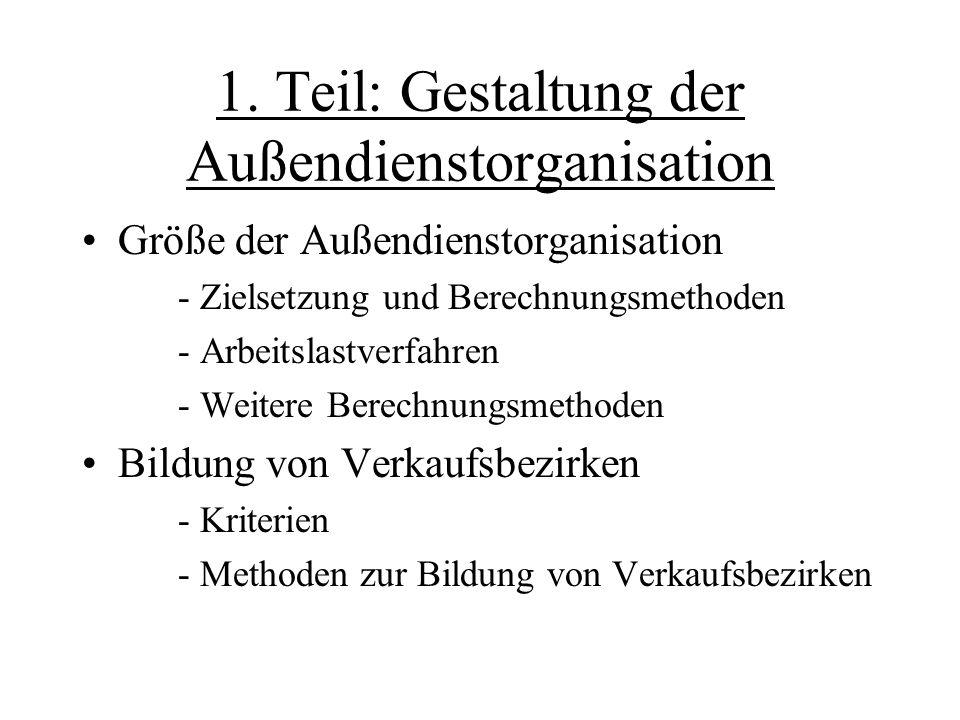 1. Teil: Gestaltung der Außendienstorganisation Größe der Außendienstorganisation - Zielsetzung und Berechnungsmethoden - Arbeitslastverfahren - Weite