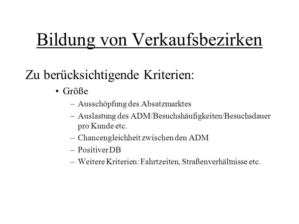 Bildung von Verkaufsbezirken Zu berücksichtigende Kriterien: Größe –Ausschöpfung des Absatzmarktes –Auslastung des ADM/Besuchshäufigkeiten/Besuchsdaue