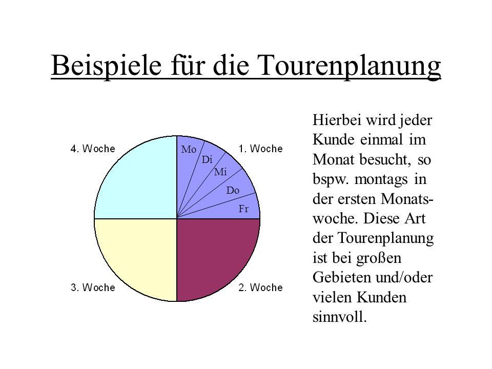 Beispiele für die Tourenplanung Hierbei wird jeder Kunde einmal im Monat besucht, so bspw. montags in der ersten Monats- woche. Diese Art der Tourenpl