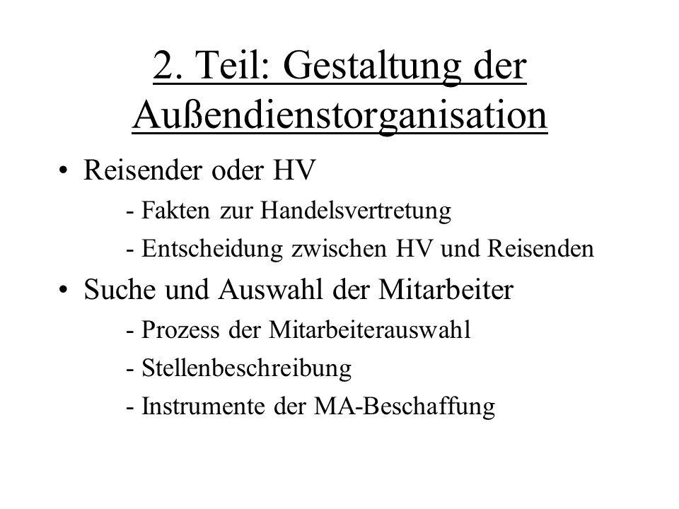 2. Teil: Gestaltung der Außendienstorganisation Reisender oder HV - Fakten zur Handelsvertretung - Entscheidung zwischen HV und Reisenden Suche und Au