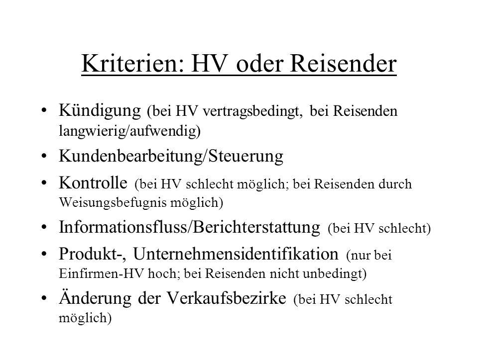 Kriterien: HV oder Reisender Kündigung (bei HV vertragsbedingt, bei Reisenden langwierig/aufwendig) Kundenbearbeitung/Steuerung Kontrolle (bei HV schl