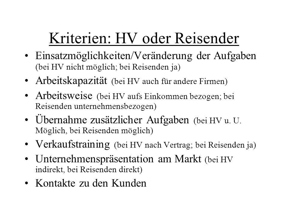 Kriterien: HV oder Reisender Einsatzmöglichkeiten/Veränderung der Aufgaben (bei HV nicht möglich; bei Reisenden ja) Arbeitskapazität (bei HV auch für