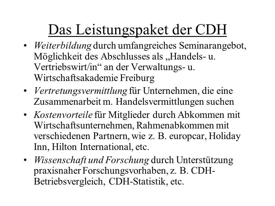 """Das Leistungspaket der CDH Weiterbildung durch umfangreiches Seminarangebot, Möglichkeit des Abschlusses als """"Handels- u. Vertriebswirt/in"""" an der Ver"""