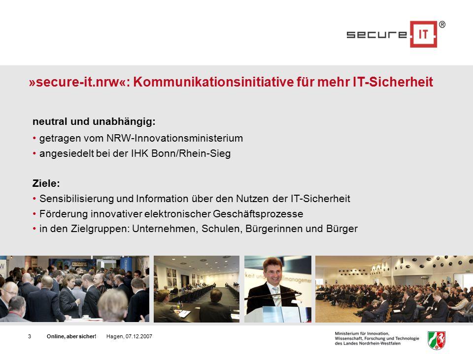 Online, aber sicher.Hagen, 07.12.200724 Wie schnell ist mein Passwort geknackt.