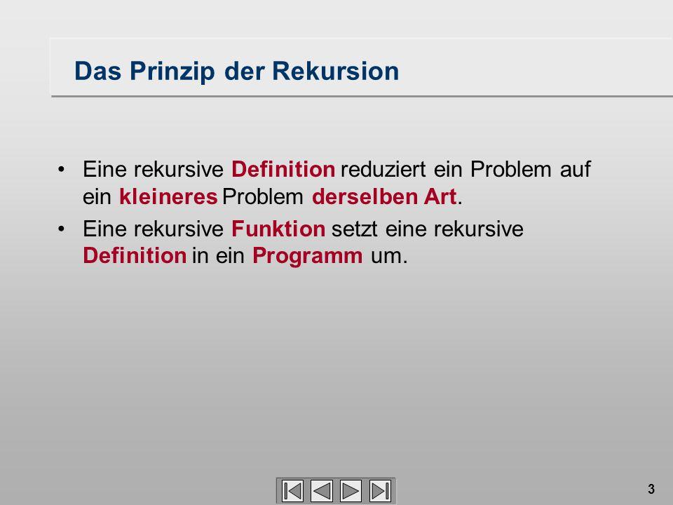 3 Das Prinzip der Rekursion Eine rekursive Definition reduziert ein Problem auf ein kleineres Problem derselben Art. Eine rekursive Funktion setzt ein