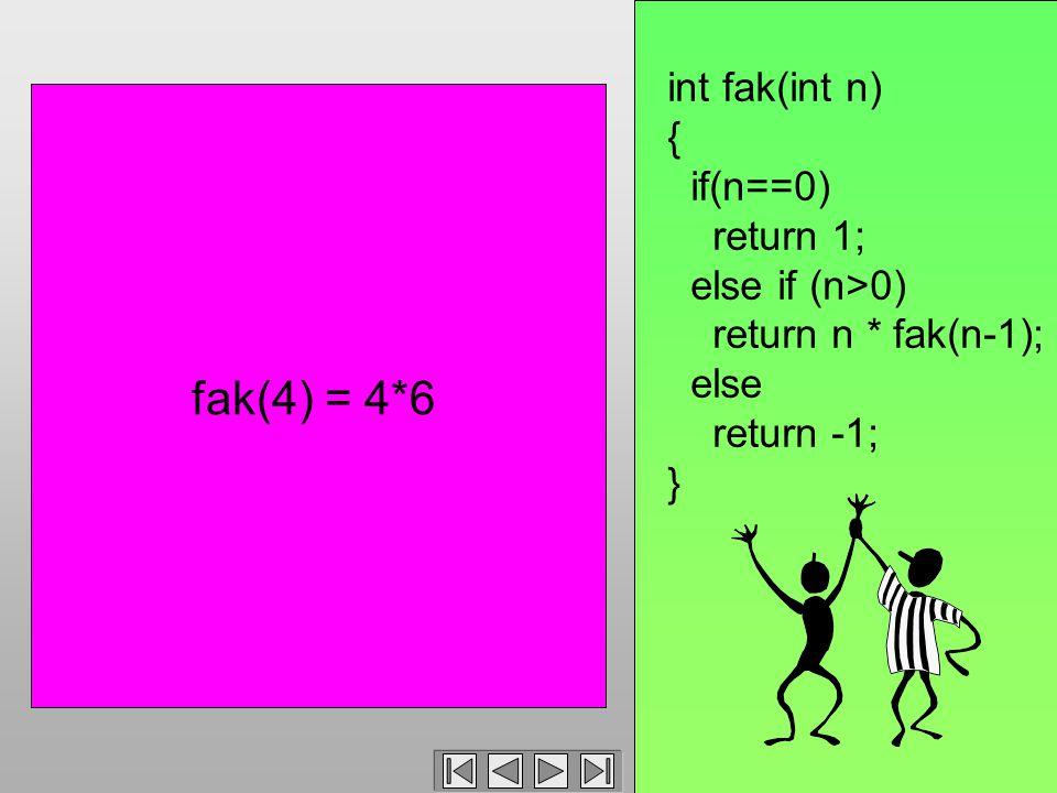 int fak(int n) { if(n==0) return 1; else if (n>0) return n * fak(n-1); else return -1; } fak(4) = 4*6