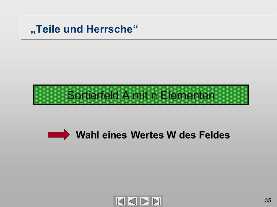 """35 Sortierfeld A mit n Elementen Wahl eines Wertes W des Feldes """"Teile und Herrsche"""
