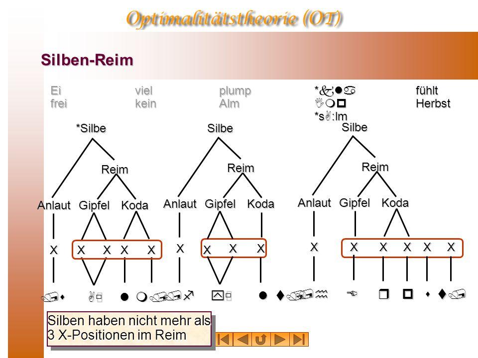 Silben-Reim Ei frei viel kein plump Alm *kla Imp *sA:lm fühlt Herbst /sAùl Anlaut XX Koda*SilbeReim Gipfel XXX m/ Silben haben nicht mehr als 3 X-Positionen im Reim /fyùl X KodaSilbeAnlaut Reim Gipfel X X X t/ /hEr KodaSilbeAnlaut Reim Gipfel XXX p X s X t/ X