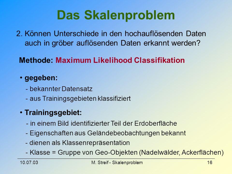 10.07.03M. Streif - Skalenproblem16 Das Skalenproblem 2. Können Unterschiede in den hochauflösenden Daten auch in gröber auflösenden Daten erkannt wer