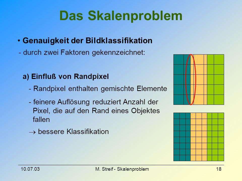 10.07.03M. Streif - Skalenproblem18 Das Skalenproblem Genauigkeit der Bildklassifikation - durch zwei Faktoren gekennzeichnet: a) Einfluß von Randpixe
