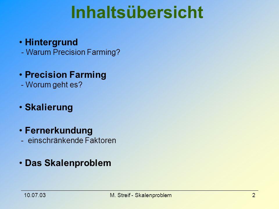 10.07.03M. Streif - Skalenproblem2 Inhaltsübersicht Hintergrund - Warum Precision Farming? Precision Farming - Worum geht es? Skalierung Fernerkundung