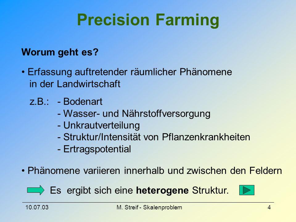 10.07.03M. Streif - Skalenproblem4 Precision Farming Erfassung auftretender räumlicher Phänomene in der Landwirtschaft z.B.: - Bodenart - Wasser- und