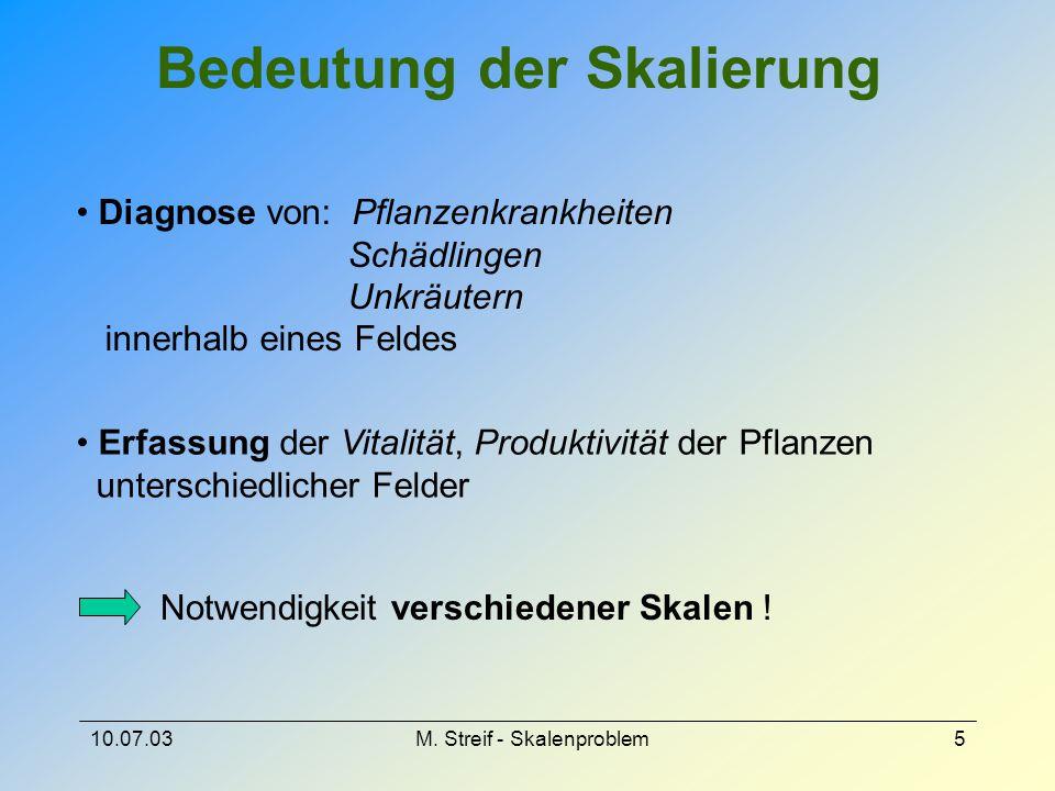 10.07.03M. Streif - Skalenproblem5 Bedeutung der Skalierung Diagnose von: Pflanzenkrankheiten Schädlingen Unkräutern innerhalb eines Feldes Erfassung