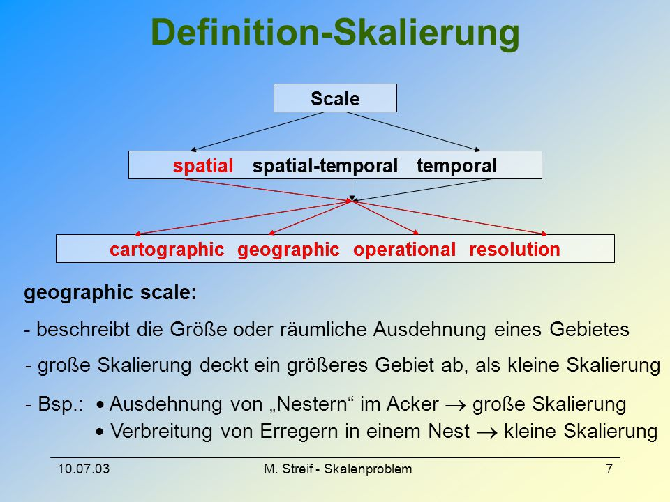 10.07.03M. Streif - Skalenproblem7 Definition-Skalierung Scale spatial spatial-temporal temporal cartographic geographic operational resolution spatia