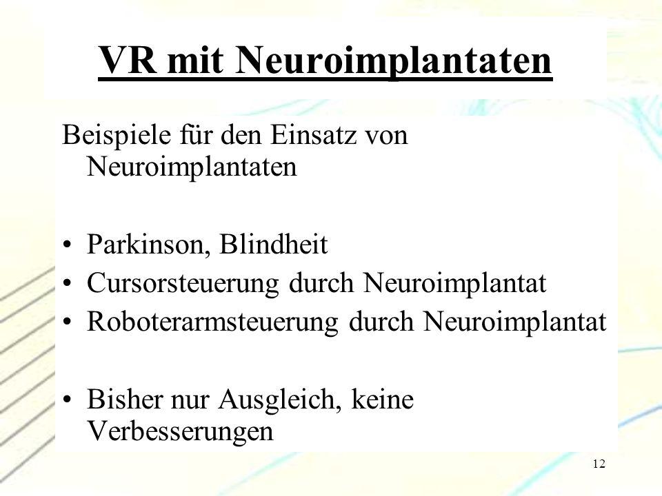 12 VR mit Neuroimplantaten Beispiele für den Einsatz von Neuroimplantaten Parkinson, Blindheit Cursorsteuerung durch Neuroimplantat Roboterarmsteuerun