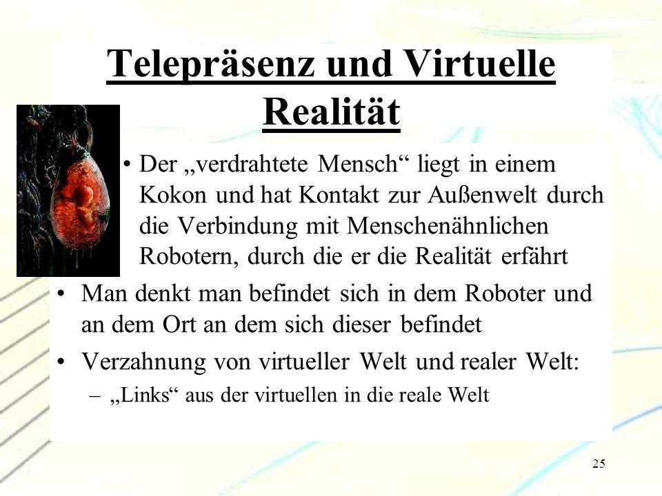 """25 Telepräsenz und Virtuelle Realität Der """"verdrahtete Mensch"""" liegt in einem Kokon und hat Kontakt zur Außenwelt durch die Verbindung mit Menschenähn"""