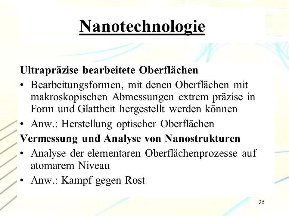 36 Nanotechnologie Ultrapräzise bearbeitete Oberflächen Bearbeitungsformen, mit denen Oberflächen mit makroskopischen Abmessungen extrem präzise in Fo