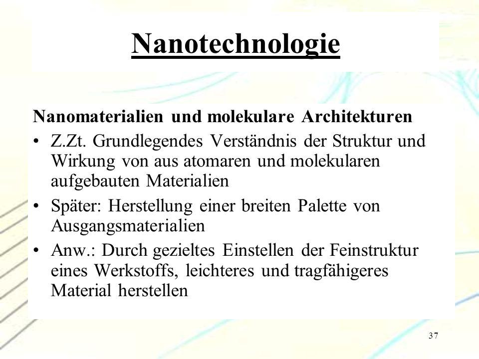 37 Nanotechnologie Nanomaterialien und molekulare Architekturen Z.Zt. Grundlegendes Verständnis der Struktur und Wirkung von aus atomaren und molekula