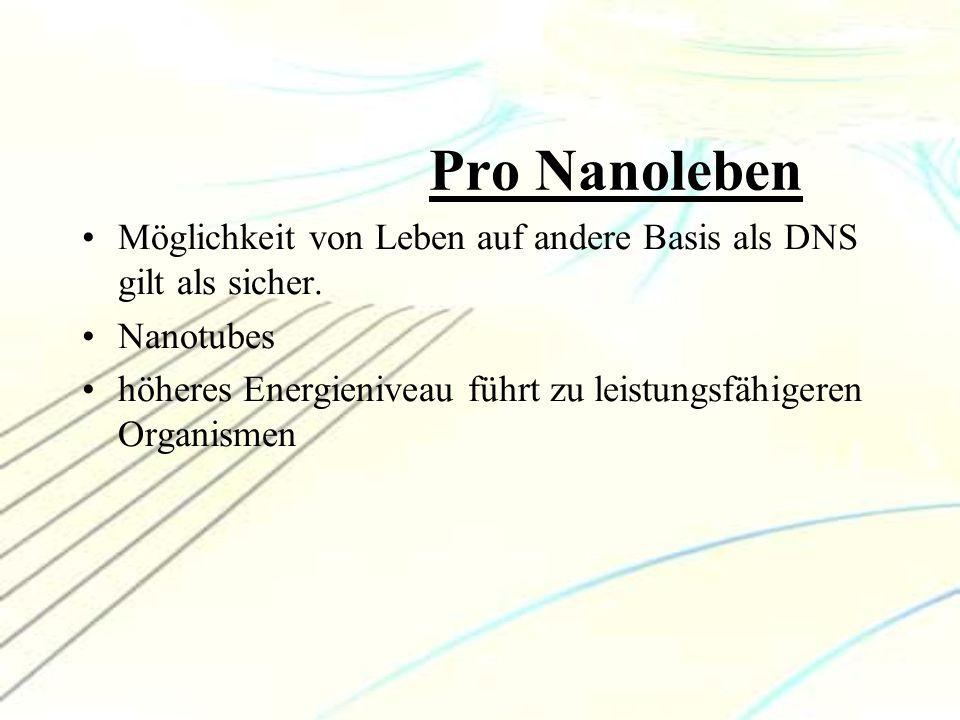 Pro Nanoleben Möglichkeit von Leben auf andere Basis als DNS gilt als sicher. Nanotubes höheres Energieniveau führt zu leistungsfähigeren Organismen
