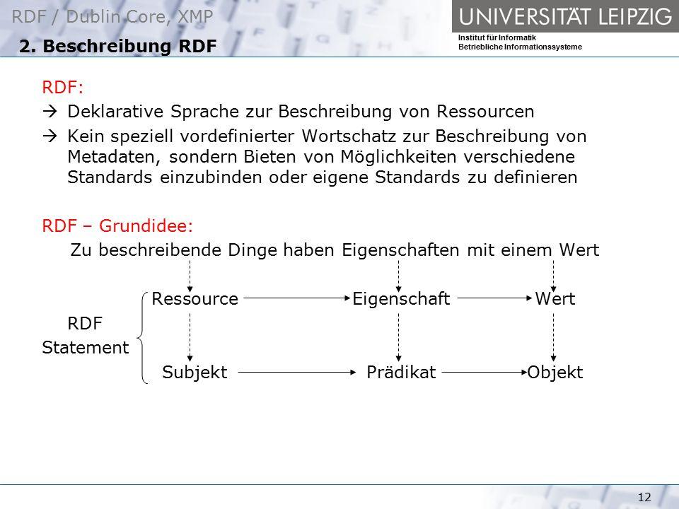 RDF / Dublin Core, XMP Institut für Informatik Betriebliche Informationssysteme 12 2. Beschreibung RDF RDF:  Deklarative Sprache zur Beschreibung von