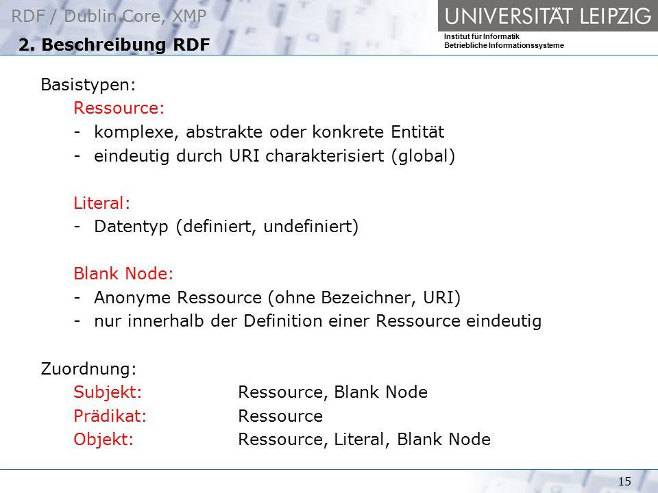 RDF / Dublin Core, XMP Institut für Informatik Betriebliche Informationssysteme 15 2. Beschreibung RDF Basistypen: Ressource: -komplexe, abstrakte ode