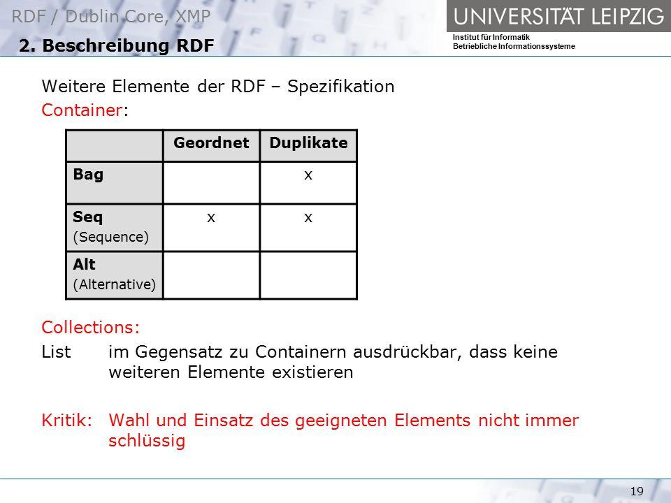 RDF / Dublin Core, XMP Institut für Informatik Betriebliche Informationssysteme 19 2. Beschreibung RDF Weitere Elemente der RDF – Spezifikation Contai